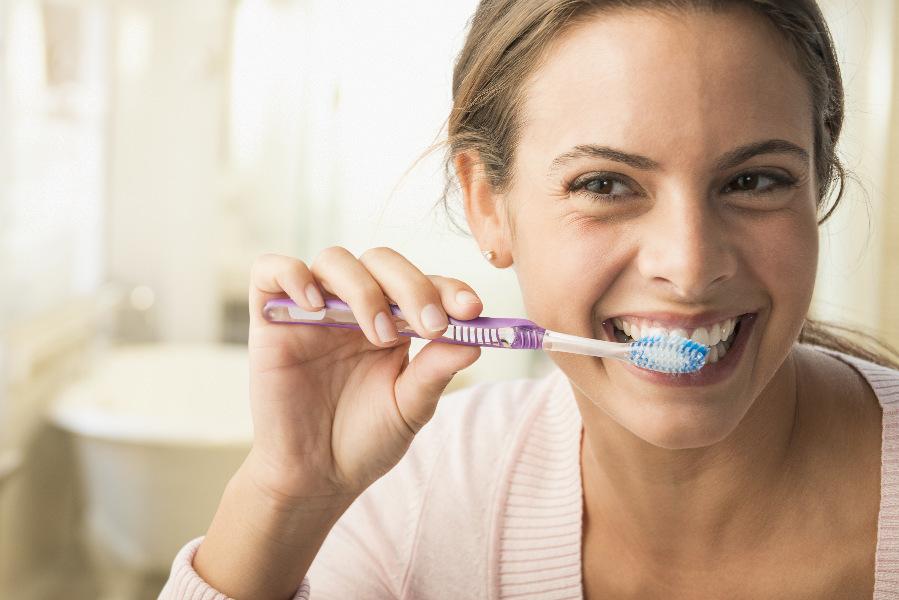 dental patient brushing teeth